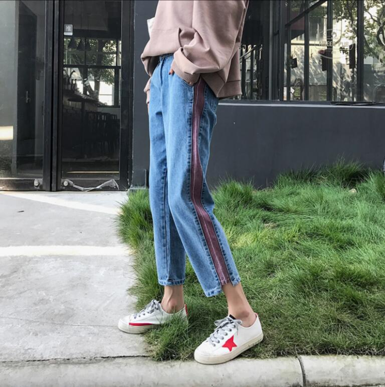 Plus size 5xl women Jeans 2018 spring summer Casual Denim Pants High Waist Ripped Jean Ladies Striped Side Bottom s1779 3