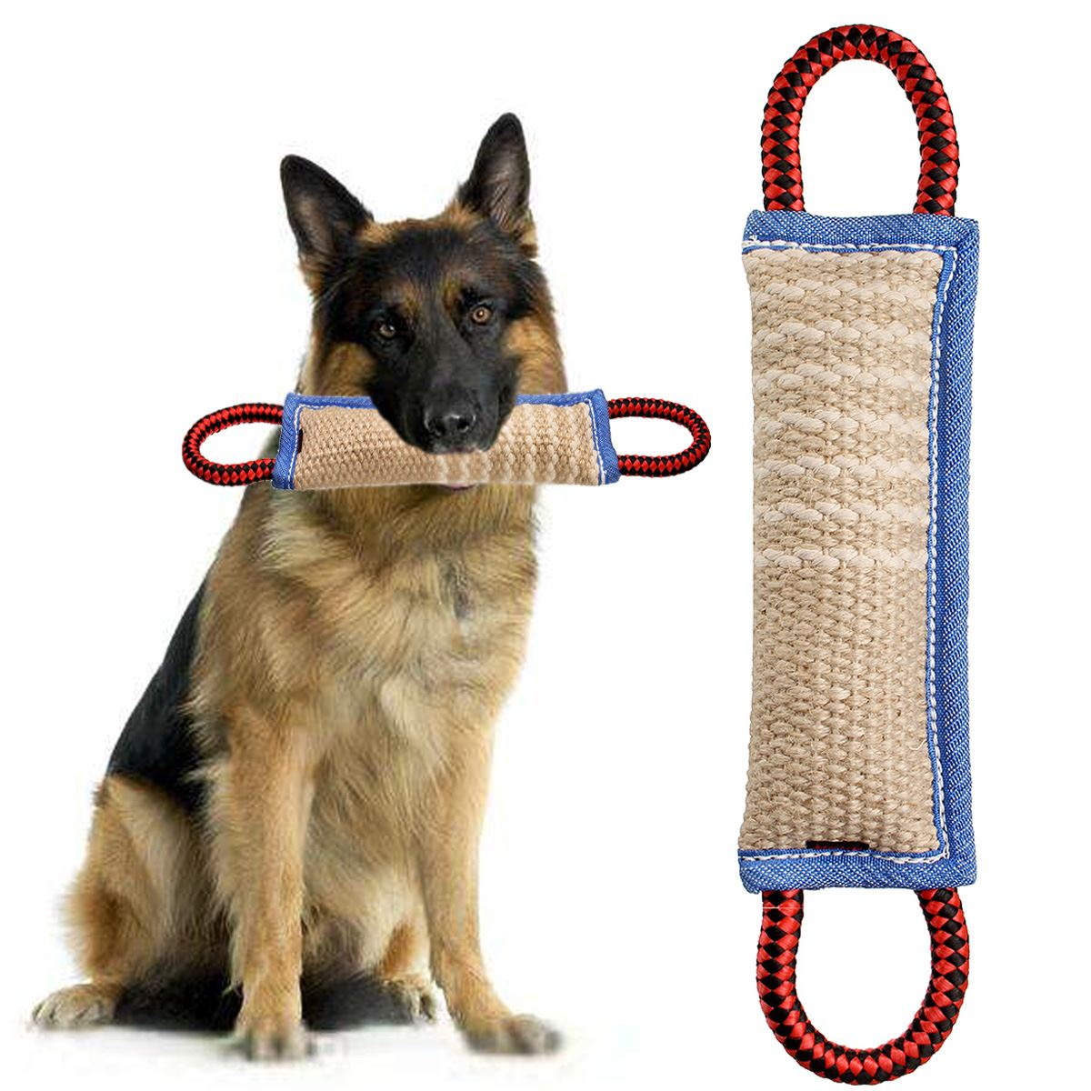 "12 ""Dog Toy Tugs Training Bite med 2 håndtag Large Pude Biting Pillows Tænder Sund Chewing Aid Spille til K9 Rottweiler"