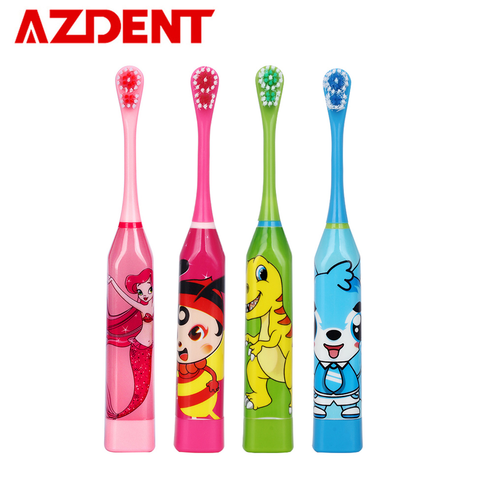 AZDENT Children Electric Toothbrush Cartoon Pattern Double-sided Tooth Brush Heads Electric Teeth Brush For Kids with 2 pcs Head image