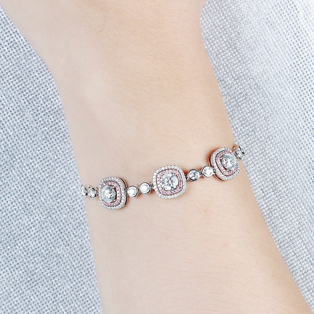 Image 5 - Double Halo 14K Two Tones Bracelet 6MM Cushion Cut Slight Blue Moissanite Rose Gold and White Gold with Pink Sapphire AccentsBracelets & Bangles   -