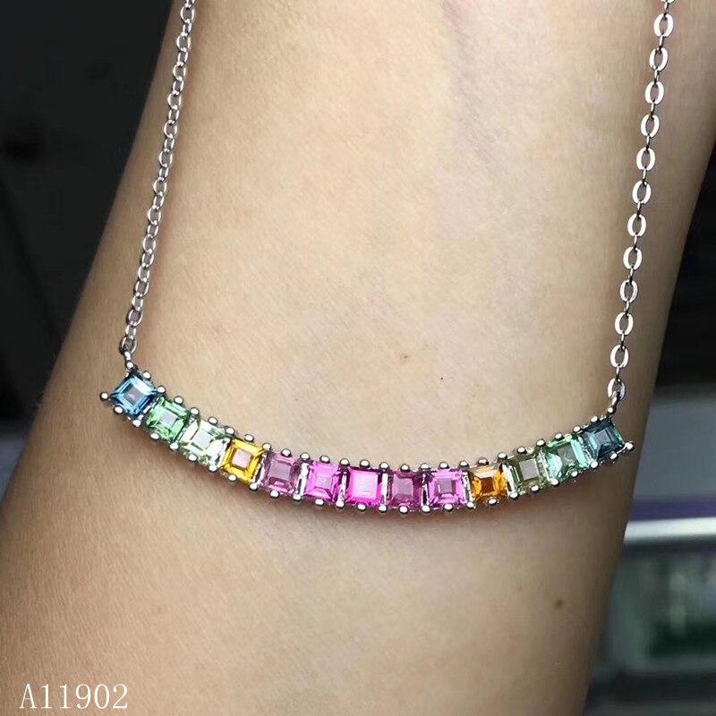 KJJEAXCMY boutique bijoux 925 en argent sterling incrusté de pierres précieuses naturelles tourmaline dame collier pendentif soutien détection qwerju