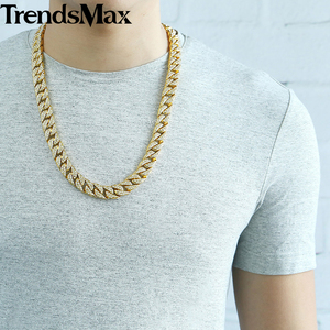 Image 4 - Mens Necklace Hip Hop Gold Miami Iced Out Curb Cuban Chain Necklace For Woman Male Jewelry Dropshipping Wholesale 14mm KGN455