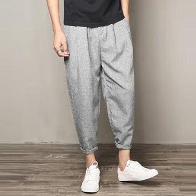 d8a05315b4 New Wide Leg Harem Pants Men Casual Streetwear Cotton Linen Pants Mens  Loose Hip Hop Pants Joggers Trousers Streetwear Plus Size