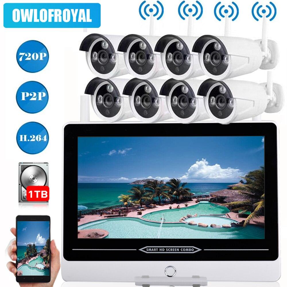 720 P 13 ЖК дисплей Беспроводная система видеонаблюдения 1MP 8CH NVR комплект IP IR CUT открытый ip камера видеонаблюдения Система безопасности видеон