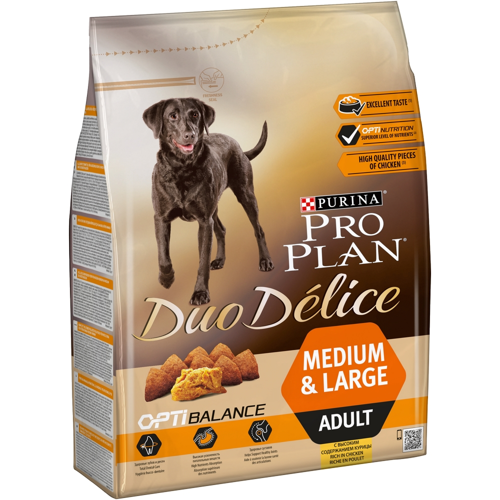 Dog Food Pro Plan Duo Delice Medium & Large for adult dogs of medium and large breeds, Chicken, 2,5 kg. dog dry food pro plan medium adult for adult dogs of medium breeds chicken 1 5 kg