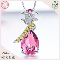 Good Quality Luxurious Valentines Gift Famous Crystals Rose Flower Design Pendant 925 Sterling Silver Necklace For