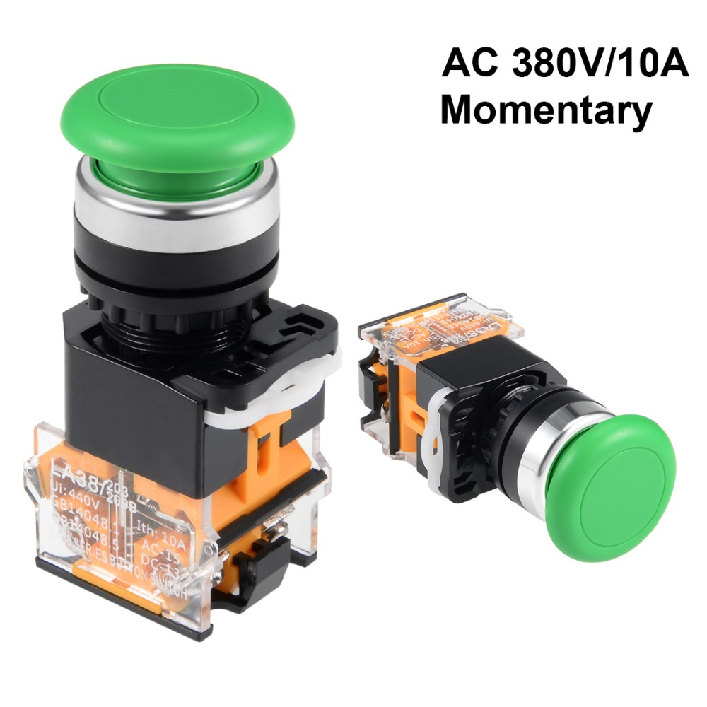 UXCELL 22mm Switch Mounting Hole Momentary Push Button Switches Green Round DPST 1 NO NC Used In Electrified Railway