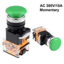 цена на UXCELL 22mm Switch Mounting Hole Momentary Push Button Switches Green Round Button DPST 1 NO 1 NC Used In Electrified Railway