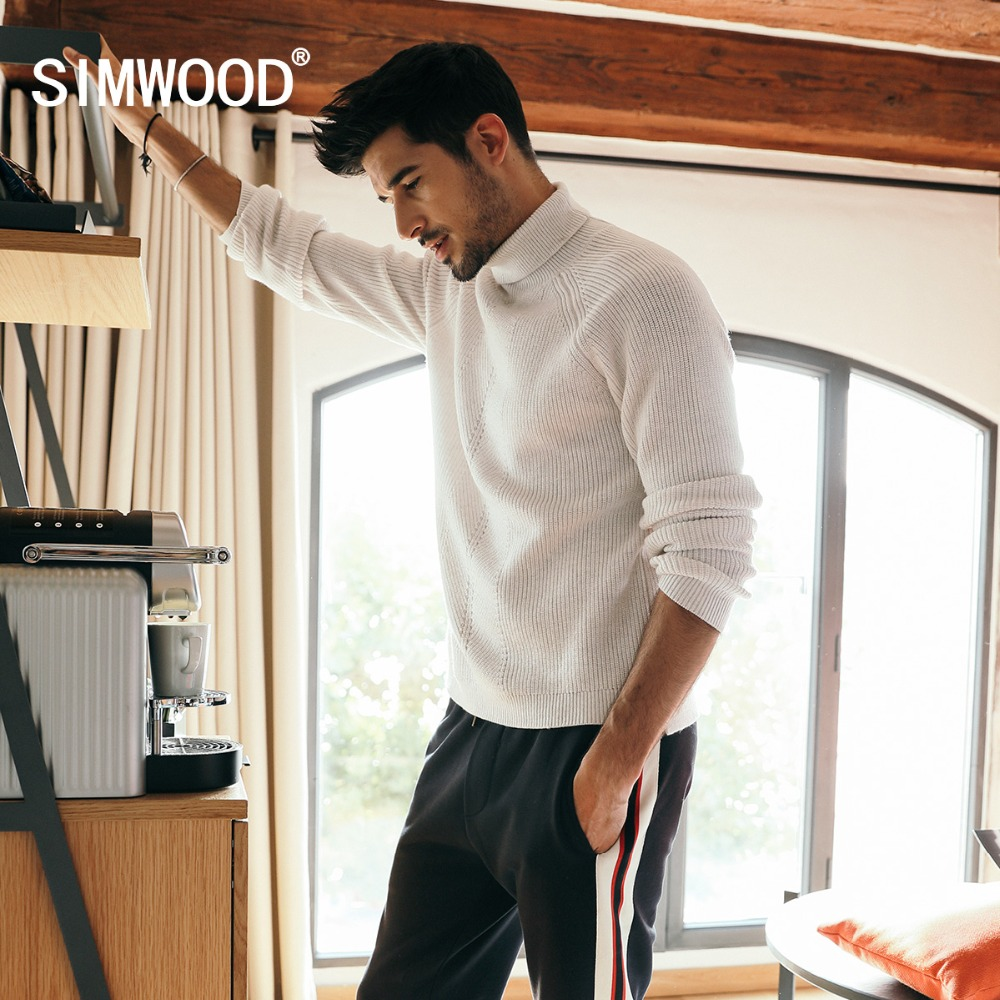 SIMWOOD 2019 Winter Sweater Men Cotton Turtleneck Wool Sweaters Brand Clothes Long Sleeve Fashion Pullover High Quality 180593