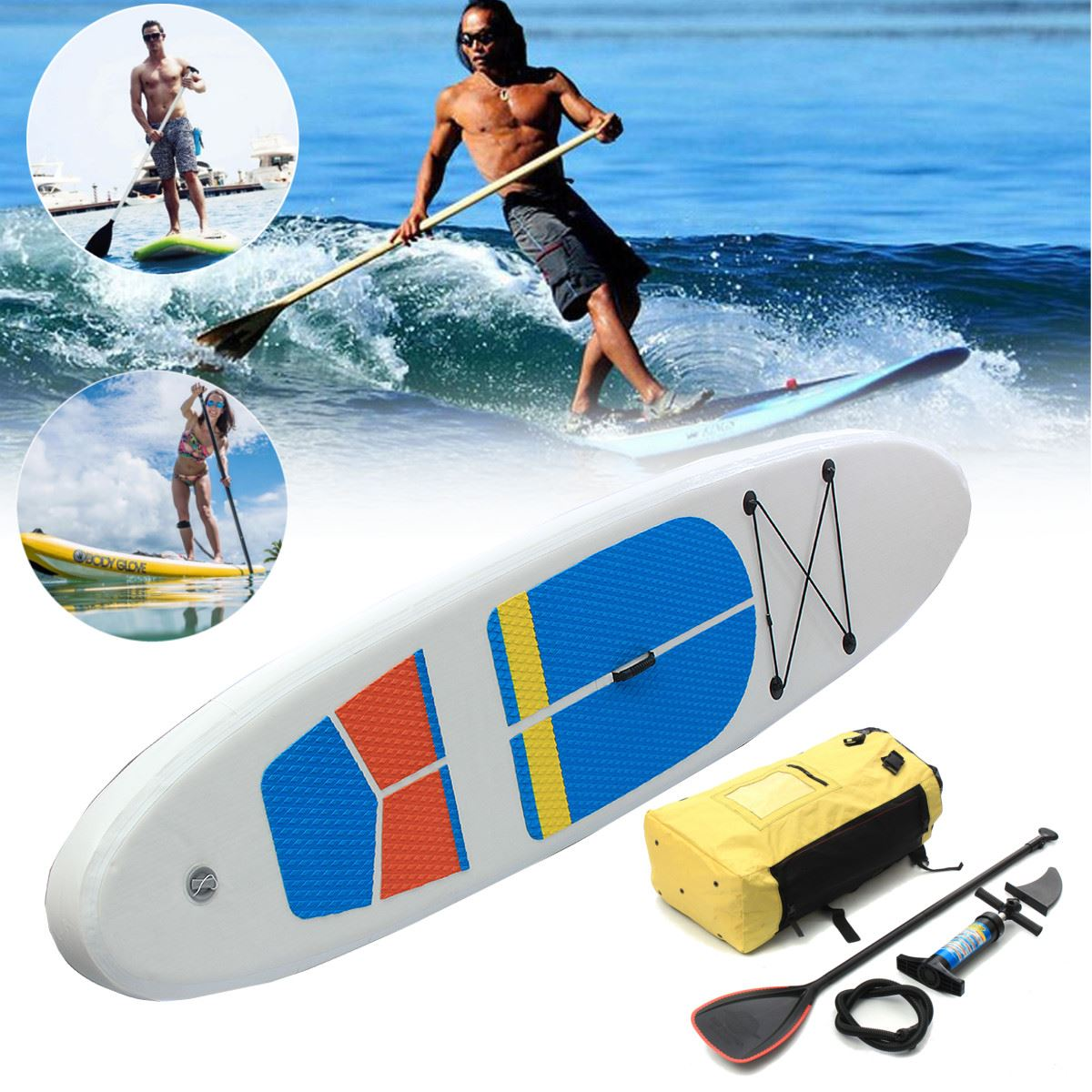 Gofun 120 x32 x 4 Inch Stand Up Paddle Surfboard Inflatable Board SUP Set Wave Rider Blue inflatable surf board sup paddle boat 2016 big cheaper 10 10 vapor surfing stand up paddle board sup board paddle board surf board sup kayak inflatable boat