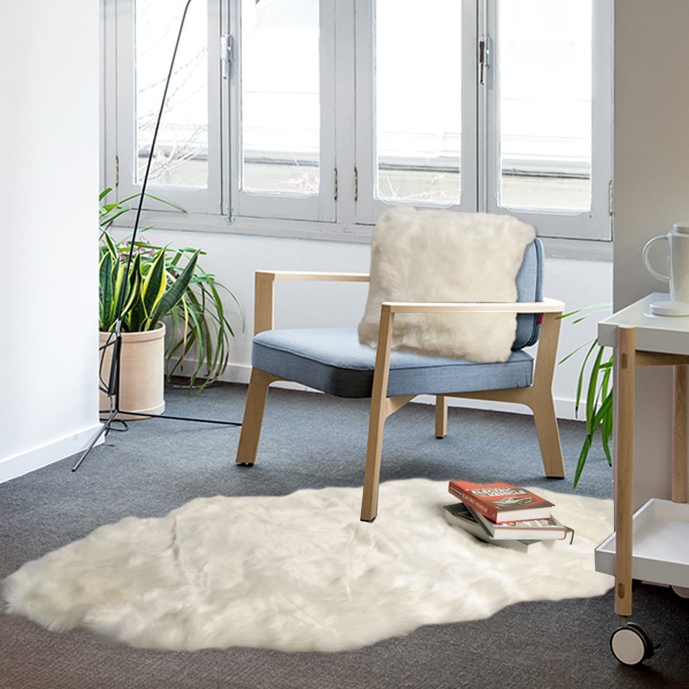 Battilo Fluffy Faux Fur Sheepskin Rug Chair Cover Seat Pad Home ...