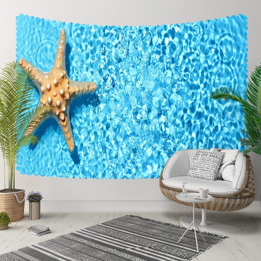 Autres étoiles de mer tropicales jaunes sous l'eau de mer bleue impression 3D décorative Hippi bohème tenture murale paysage tapisserie Art mural