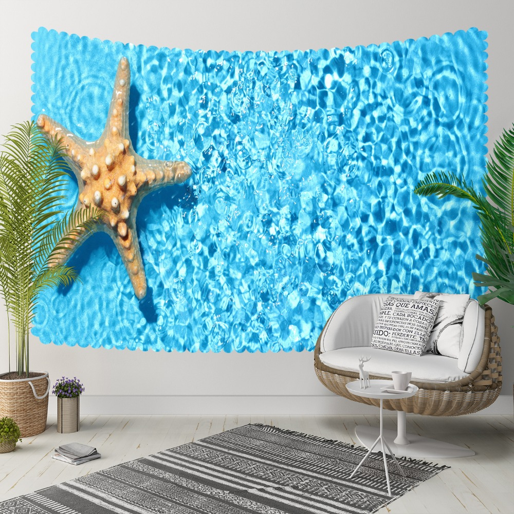 Else Yellow Tropical Sea Stars Under Blue Sea Water 3D Print Decorative Hippi Bohemian Wall Hanging Landscape Tapestry Wall Art