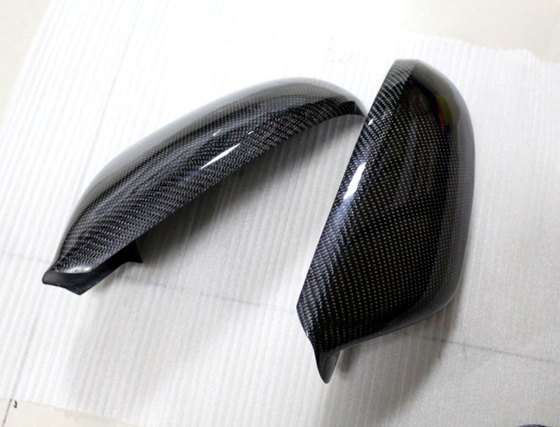 TEAEGG for Audi A6 C7 2012-2016 Carbon Fiber Side Door Rearview Mirror Cover trim 2pcs