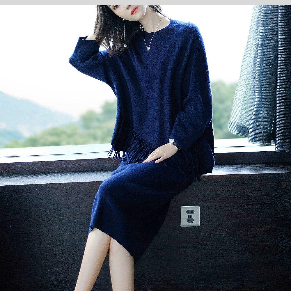 Version coréenne De L'hôtel de Style Femmes Office Lady Ensemble O-cou Genou-Longueur Femmes Vêtements Avec Le Gland