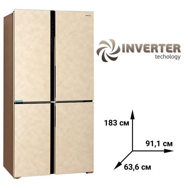 """Инвертерный Холодильник  HIBERG RFQ-500DX NFYm Inverter, 545 л, 4 двери, 2 камеры, А+ класс энергоэфективности, Total No Frost, LED подсветка, фасад VCM цвет """"бежевый мрамор"""""""