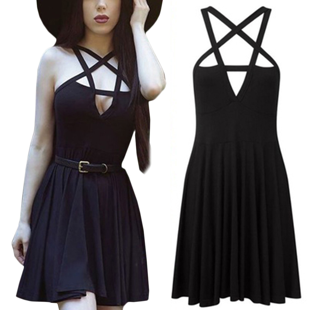 Summer Fashion Dresses Style Sexy Bandage Backless Dresses Women A-Line Solid Sleeveless Hollow Out Halter Party Dresses