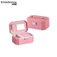 Casegrace valentine gift octagonal women makeup jewelry boxes organizers mirror lock earring storage wooden boxes 01107(China)