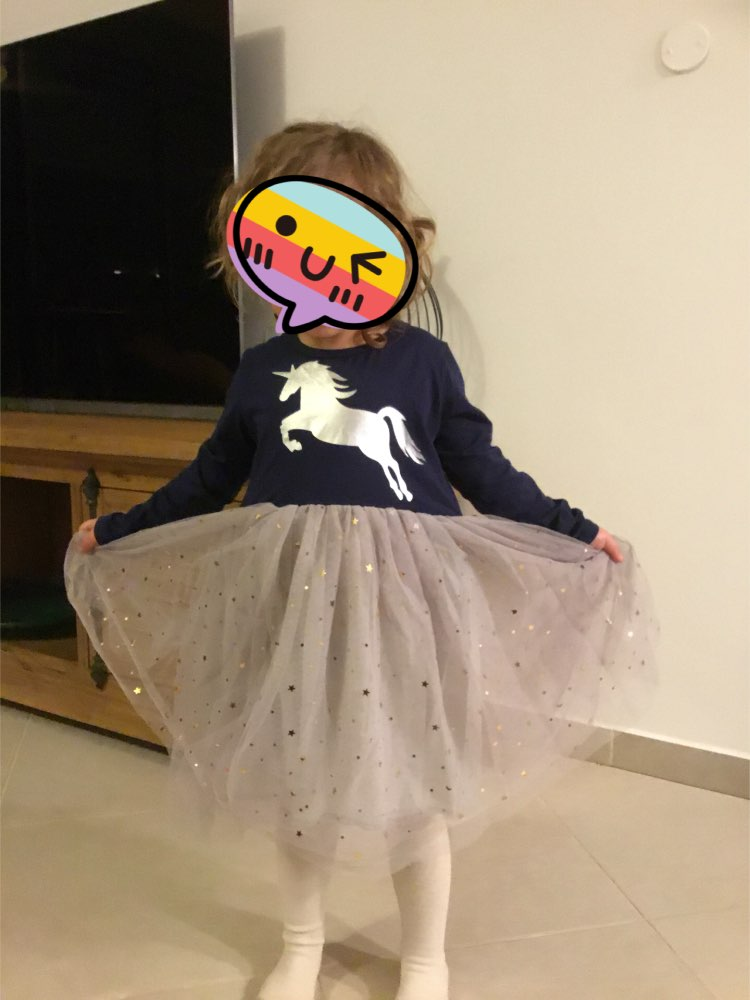 Unicorn Dress Girls Sequined Kids Party Casual Tutu Dress photo review
