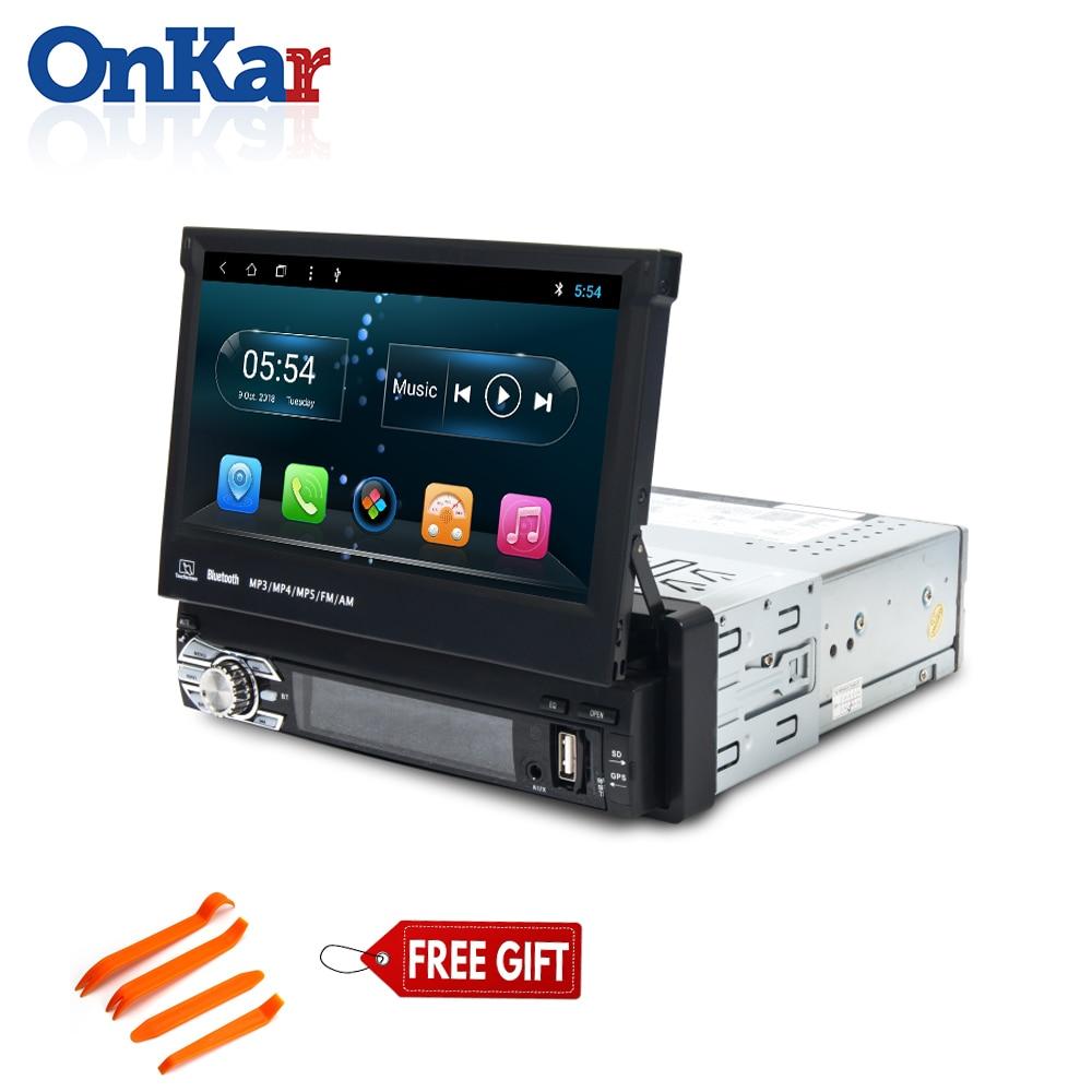 ONKAR Radio 1 Din Android GPS Navigation multimédia avec écran tactile de 7 pouces Support caméra de recul Android 8.1 unité de tête