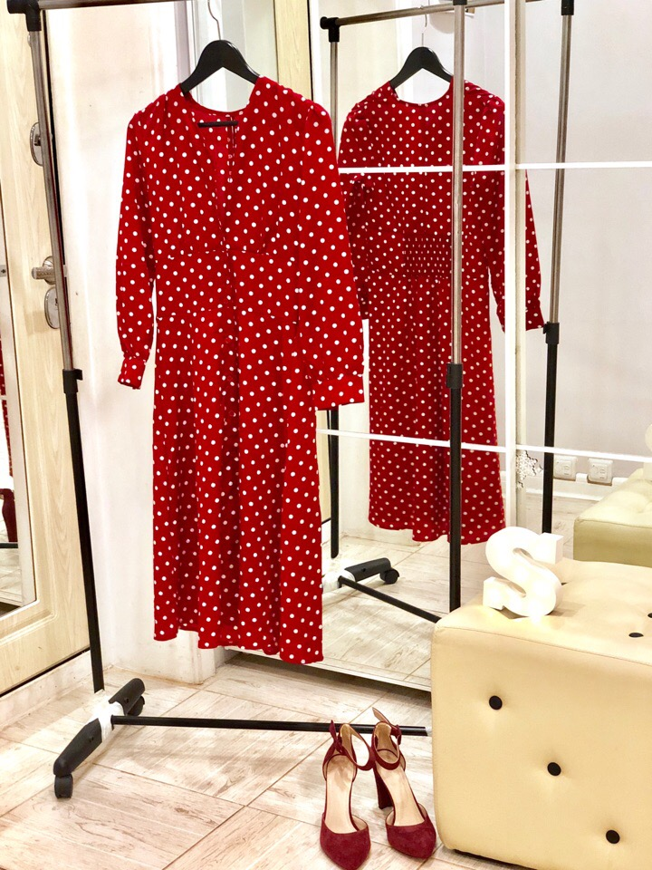 Flectit Vintage 80S Dress French Style Polka Dot Button Up Midi Dress Long Sleeve High Waisted Retro Holiday Dress Women photo review