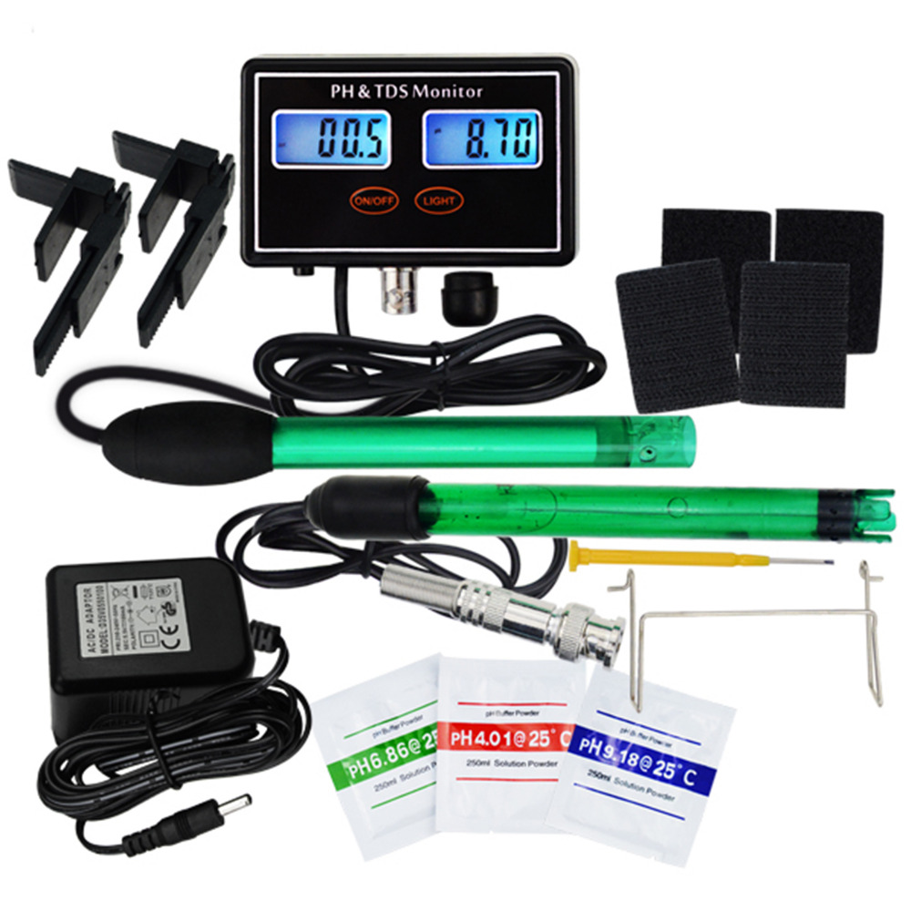 Digital Combo pH & TDS Monitor Meter Tester ATC for Aquaculture, Hydroponics, Pond, 0.00~14.00pH & 0.0~199.9ppt-in PH Meters from Tools    1