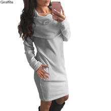 2017 Autumn And Winter Warm Wool Sweater Fashion Sexy Color Big Collar Dress Popular Anti-collar Dress 3 colors