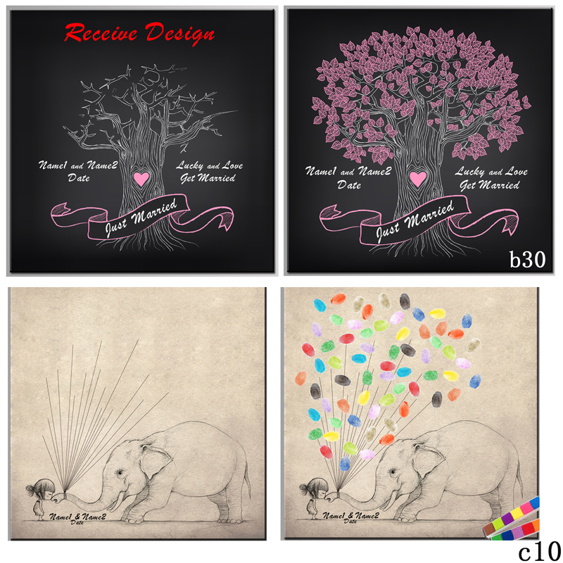 Pictures For Guests Fingerprints And Wishes: Wedding Fingerprint Tree Guest Book Signature Painting