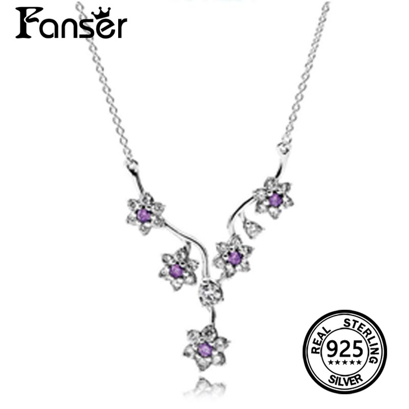 FANSER Summer bloom Pendant Necklace Has Logo 100% Pure Silver Foundation Chain Factory Wholesale Free Mail Fashion Womens
