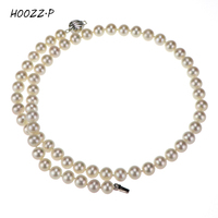 HOOZZ.P Sterling silver white freshwater round cultured pearl necklace 18 princess length