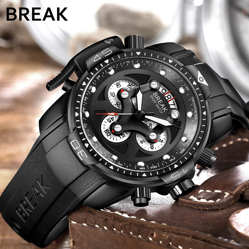 BREAK Top Luxury Brand Men Unique Fashion Rubber Band Quartz Sport Wristwatch with Waterproof Chronograph Calendar
