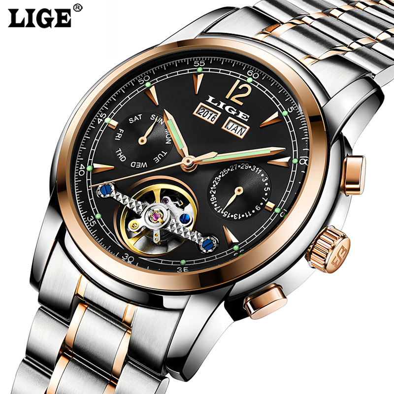 Mens Automatic mechanical Watches Relojes Hombre LIGE Luxury Brand Men Casual fashion business Clock Watch men Relogio Masculino