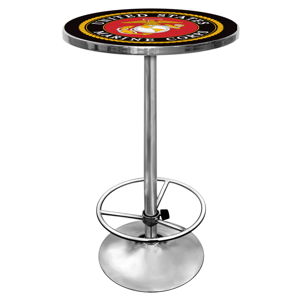 United States Marine Corps Chrome 42 Inch Pub Table