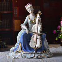 Western Female The Girl With The Cello Home Decor Ceramic Figurines Art Crafts Coffee Bar Porcelain Ornament Wedding Decoration