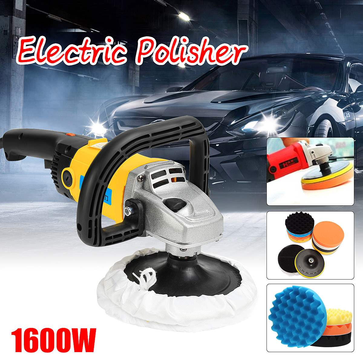 Electric Waxer 220V 1600W Polisher 1/8 Shaft Hand Held Polishing Machine Grinder Car Buffer Cleaner+7inch Polishing Sponge