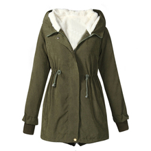 Fashion Lady Long Sleeve Hooded Dovetail Cotton-padded Jacket Casual Winter Coat