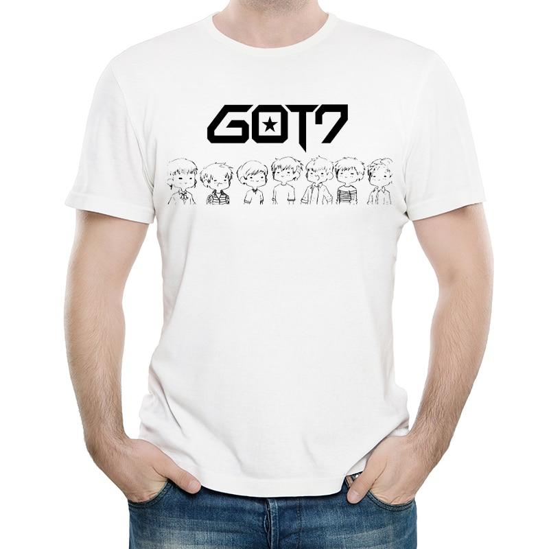 GOT7 T Shirt White Color Mens Fashion Print Short Sleeve GOT7 Logo T shirt Tops Tees tshirt Trendy GOT 7 T shirt in T Shirts from Men 39 s Clothing
