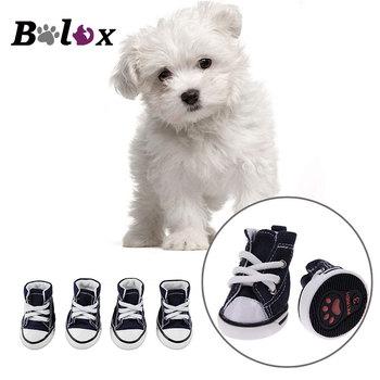 4pcs/set Denim Pet Dog Shoes