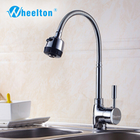 Wheelton Solid Kitchen Faucet Mixer Cold And Hot Tap Pull Down Sprayer Multi Angle Cleaning Faucets
