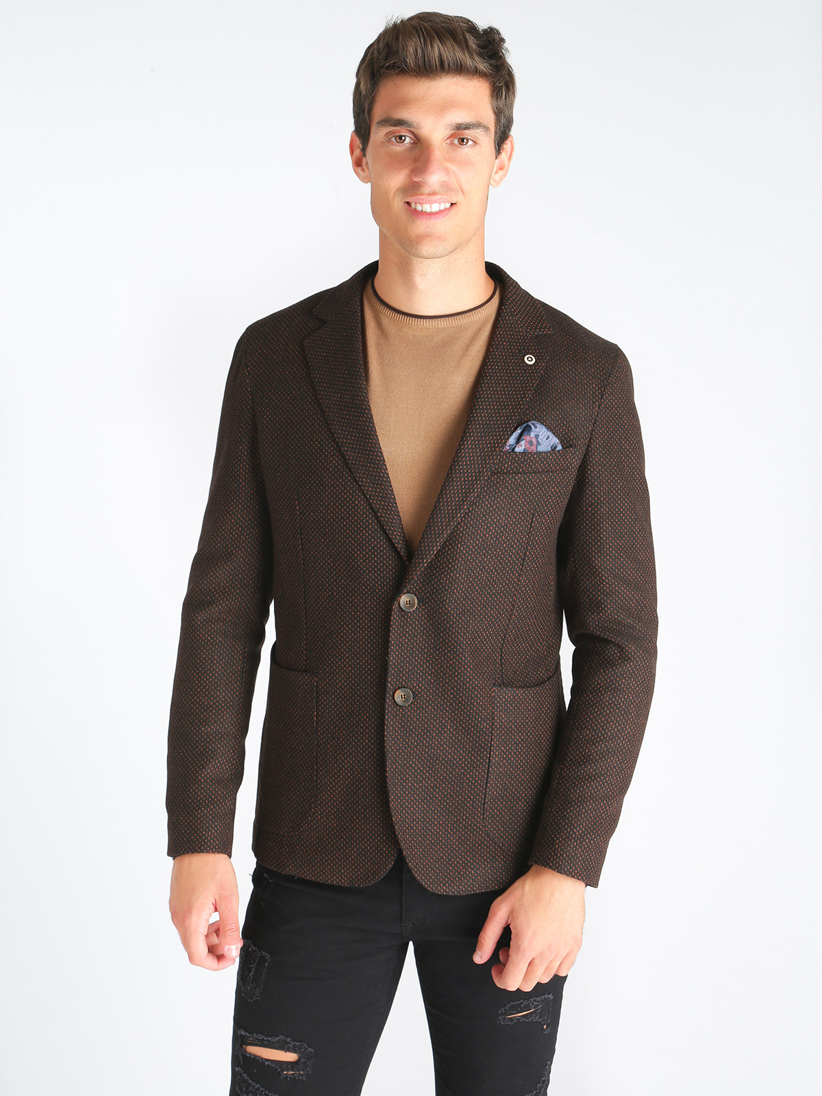 Mixed Wool Jacket Fancy Texturized