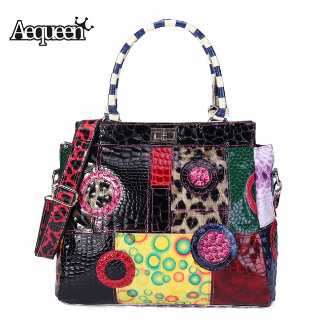 AEQUEEN Geometric Patchwork Shoulder Bag Women Genuine Leather Crossbody Bags Ladies High Quality Bolsas Feminina Random Color