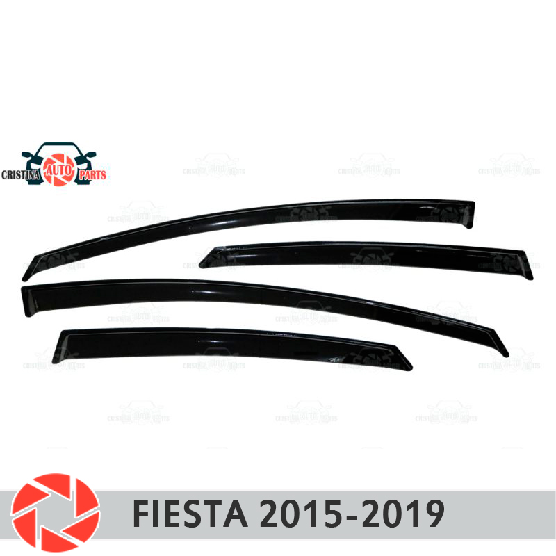 Window deflector for Ford Fiesta 2015-2019 rain deflector dirt protection car styling decoration accessories molding кисти подхваты крючки держатели rain window decoration