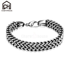 Fashion Men Bracelets Stainless Steel Bracelet Bangles Man Punk Jewelry Wide Link Chain Wristband Accessories Pulseras Hombre