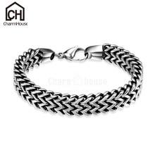 Fashion Men Bracelets Stainless Steel Bracelet Bangles Man Punk Jewelry Wide Link Chain Wristband Accessories Pulseras Hombre