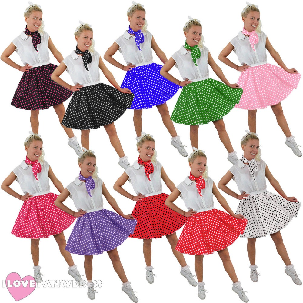 GIRLS ROCK AND ROLL POLKA DOT SKIRT /& SCARF FANCY DANCE PARTY DRESS COSTUME