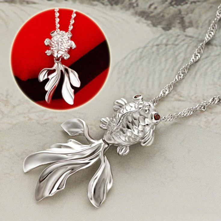 New Style Silver Plated Pendant font b Crystal b font Stone Fish Pendants Fit Necklaces Chain