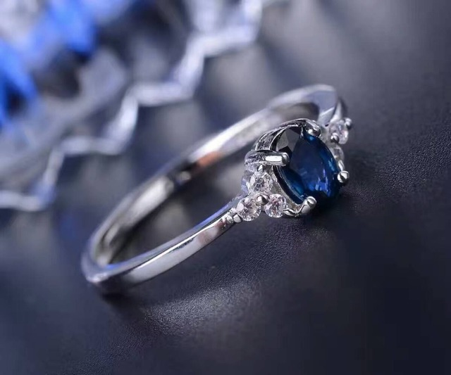 Romantic sapphire wedding ring for woman 4 mm*6 mm 0.4 ct natural sapphire gemstone ring solid 925 sterling silver sapphire ring