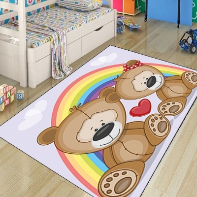 Else Rainbow Cute Love Brown Bears Hearts Animals 3d Print Non Slip Microfiber Children Kids Room Decorative Area Rug Mat