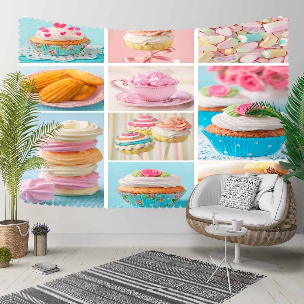 Else Pink Blue Sweets Macaroon Cup Cake Patchwork 3D Print Decorative Hippi Bohemian Wall Hanging Landscape Tapestry Wall Art