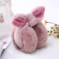 Rabbit Fur Winter Earmuffs For Women Warm Earmuffs Ear Warmers Gifts For Girls Cover Ears Fashion